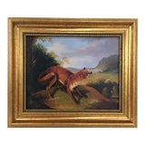 Image of Framed Fox In Landscape Painting For Sale
