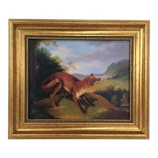 Framed Fox In Landscape Painting