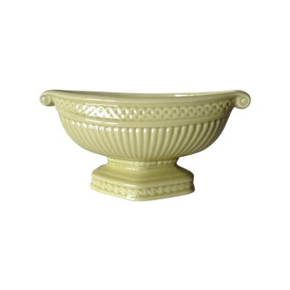 Ceramic Glazed Chartreuse Trophy Urn Compote Bowl For Sale