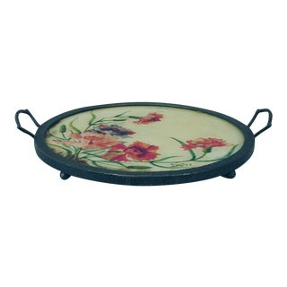 French Art Deco Wrought Iron Hand-Painted Floral Scene Tray Signed Datty For Sale