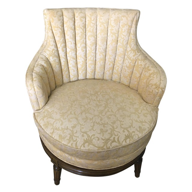 Antique Yellow Swivel Chair - Image 1 of 3