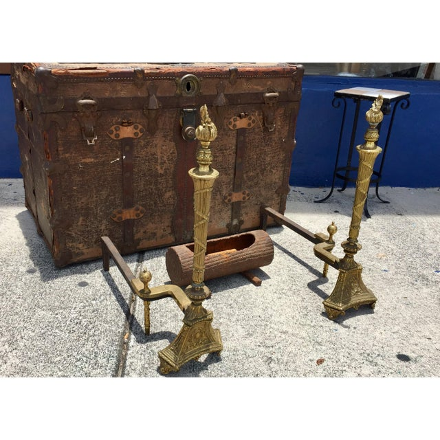Antique Empire Brass Andirons - A Pair - Image 6 of 11