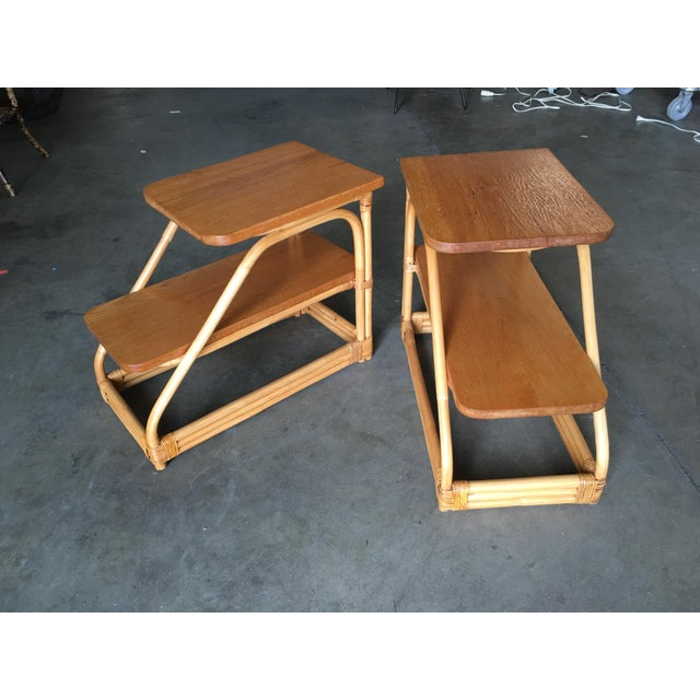 Yellow Restored Rattan Side Tables With Two-Tier Mahogany Tops - a Pair For Sale - Image 8 of 10