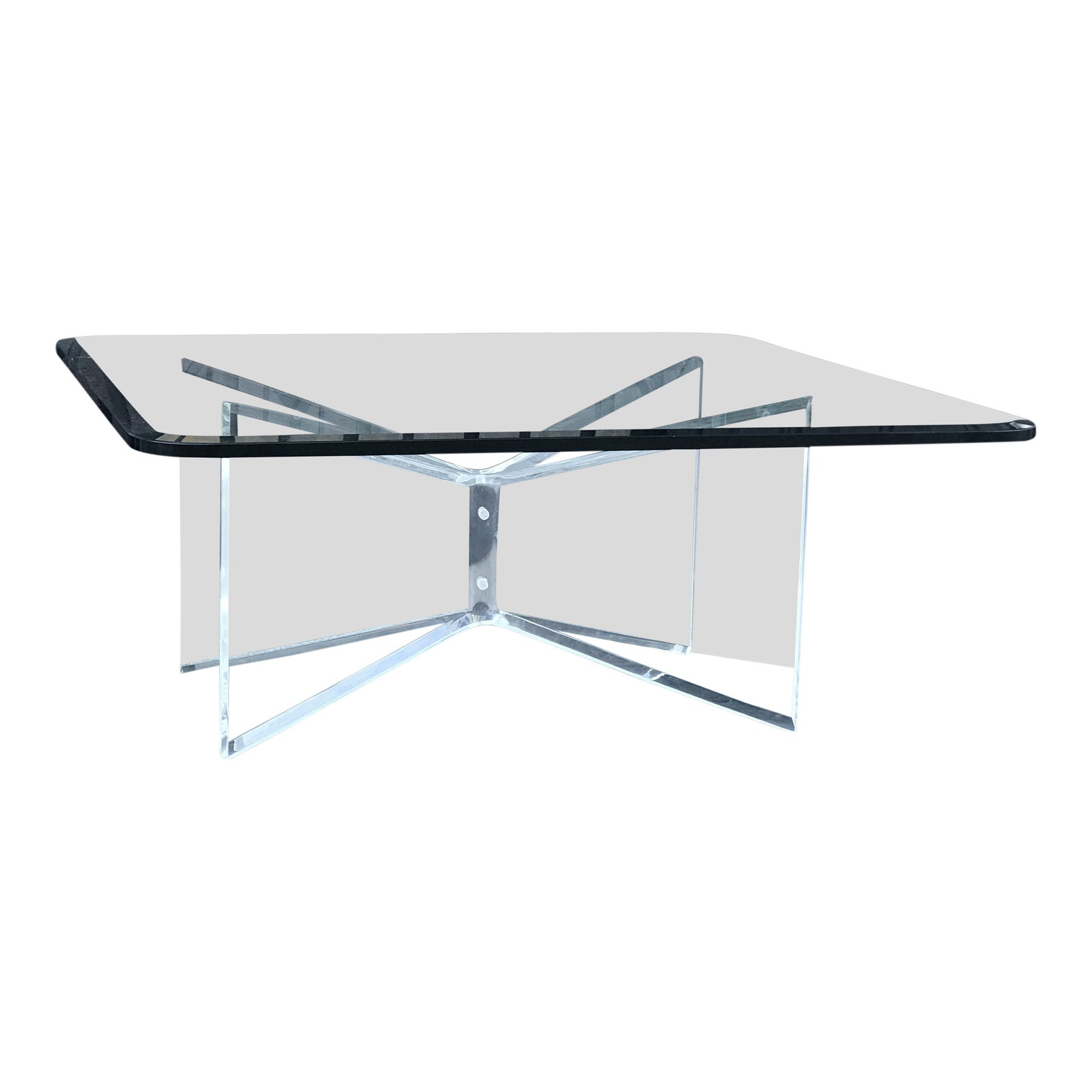Glass Coffee Table With Lucite Base Chairish