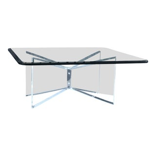 Glass Coffee Table With Lucite Base For Sale