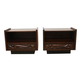 Witco Oceanic Sculptural Pulaski Tiki Nightstands - a Pair For Sale