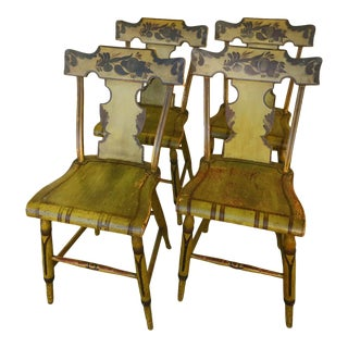 Antique Paint Decorated Fancy Chairs - Set of 4 For Sale