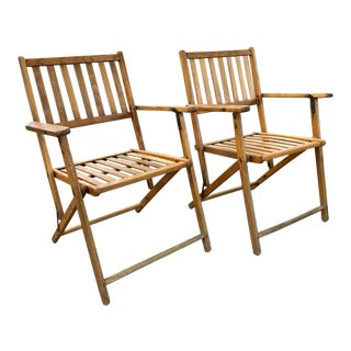Pair, Mid Century Folding Wood Chairs For Sale