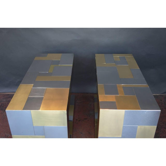 Gold Pair of Paul Evans Cityscape Side Tables For Sale - Image 8 of 9