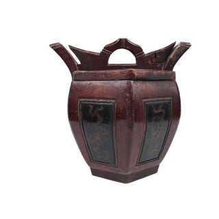 Antique Chinese Lacquer Wood Rice Basket For Sale