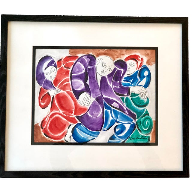Mixed media painting of three dancing figures in swirling robes. Watercolor and ink painting on paper by listed artist...