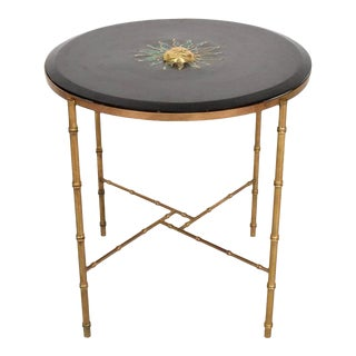 Pepe Mendoza Malachite Sun God on Round Brass Bamboo Table For Sale