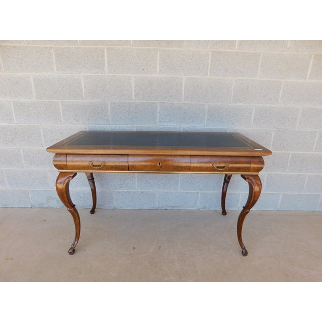 """French Baker Burl Walnut French Louis XV Style Tooled Leather Top Writing Desk 52""""w For Sale - Image 3 of 13"""