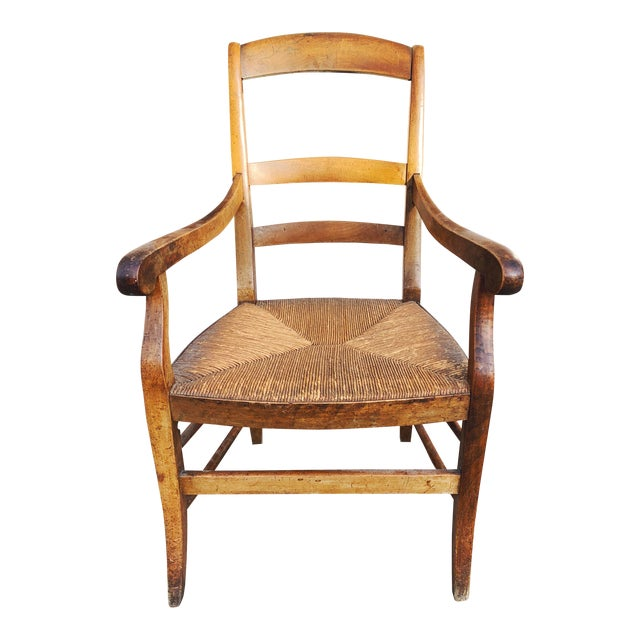 Mid 19th Century French Walnut Rush Seat Armchair For Sale