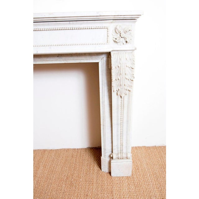19th Century 19th Century Louis XVI Style Carrara Marble Fireplace Surround / Mantel For Sale - Image 5 of 13