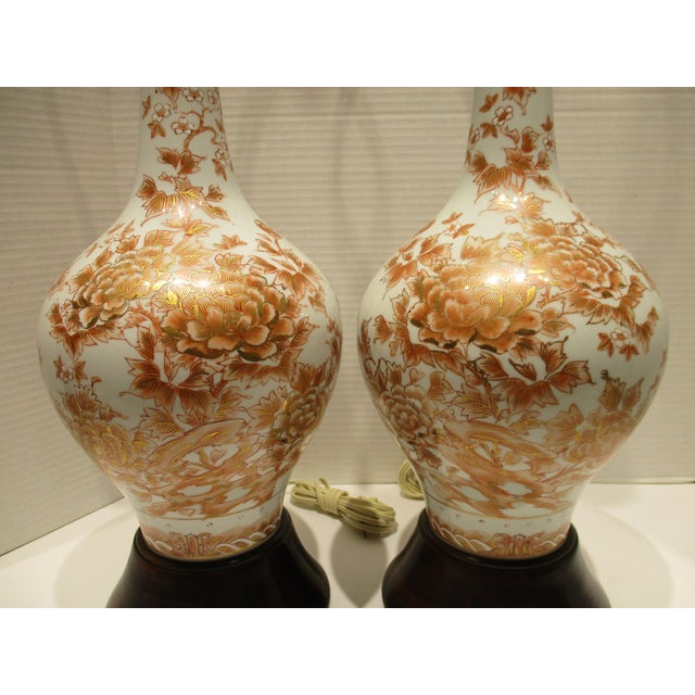 1950s Large 1950s Japanese Hand Painted Porcelain Vases Mounted as Lamps - a Pair For Sale - Image 5 of 11