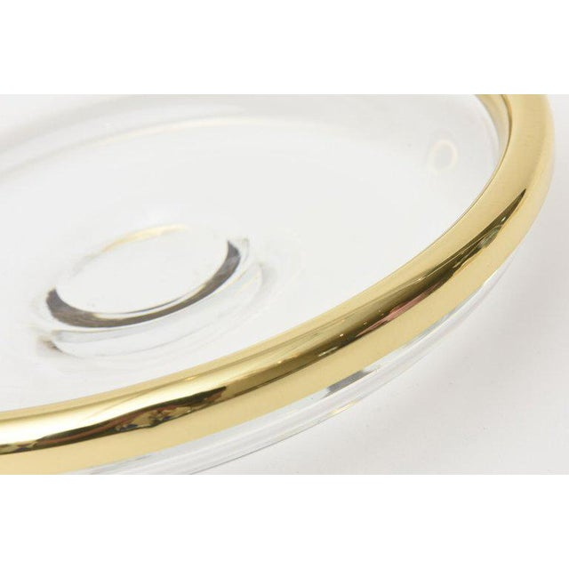 1990s Modern Glass and Brass Lipped Sculptural Bowl For Sale In Miami - Image 6 of 8