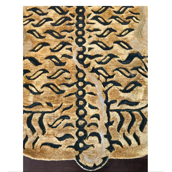 Gold Modern Wool Tibetan Tiger Rug 3' X 5' For Sale - Image 8 of 9