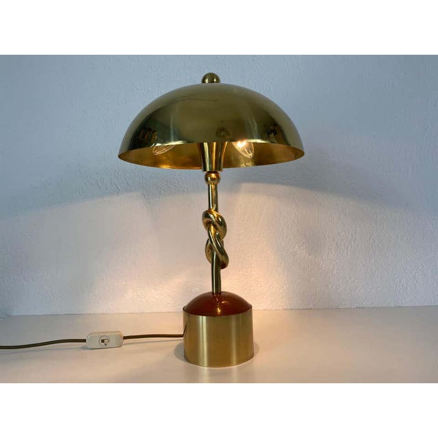 Stilnovo Heavy Italian Midcentury Solid Brass Table Lamp, 1960s, Italy For Sale - Image 4 of 13