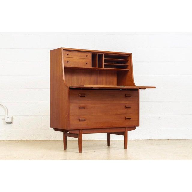 Soborg Mobelfabrik Mid Century Danish Modern Borge Mogensen Teak Wood Secretary Desk For Sale - Image 4 of 11