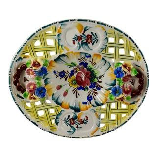 Italian Fretwork Nove Rose Decorative Platter For Sale