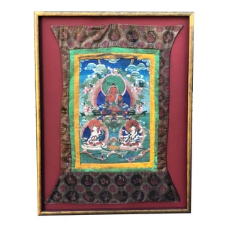 Antique Framed Chinese Tibetan Thanka Hand Painted Tapestry W Buddha For Sale