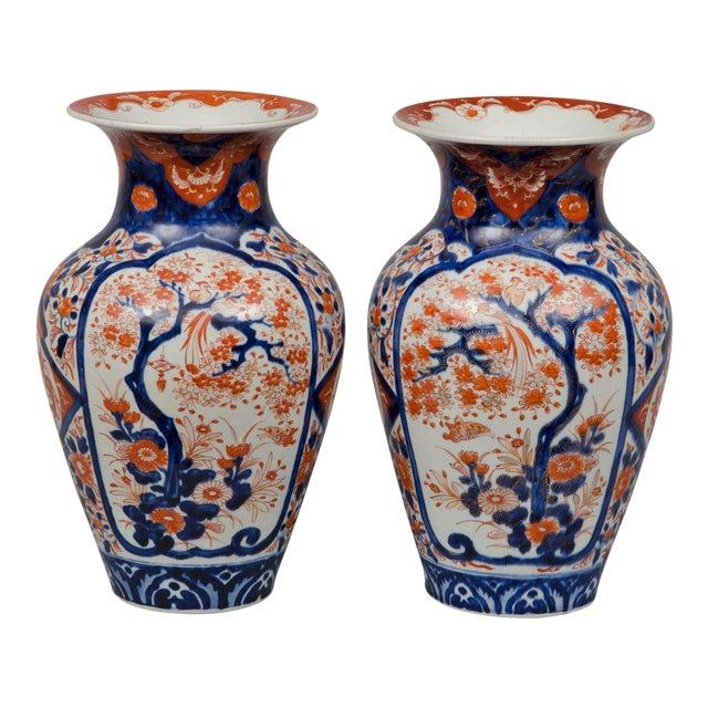 Pair of Japanese Imari Open Vases, circa 1870 For Sale
