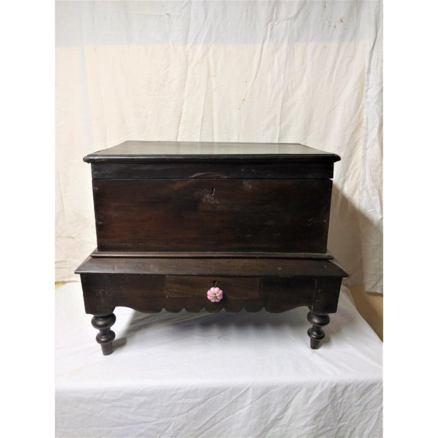 This beautiful antique Pettagama dowry Chest is from Sri Lanka. Made from rare Jak Wood. It has one small drawer on the...