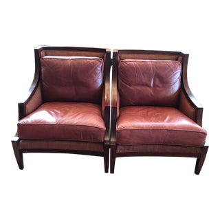 Harden Wellington Burgundy Leather and Wood Club Chairs - a Pair For Sale