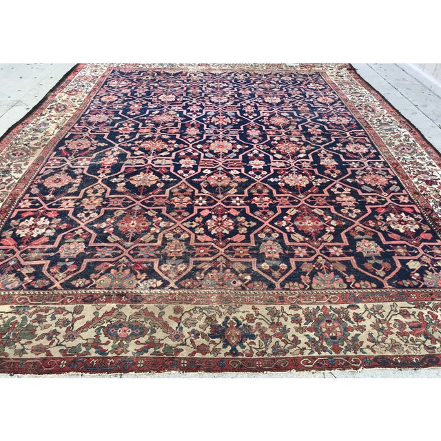 Vintage Design Decorative Blue Background Color Mahal Rug- 9′5″ × 13′5″ For Sale - Image 4 of 13