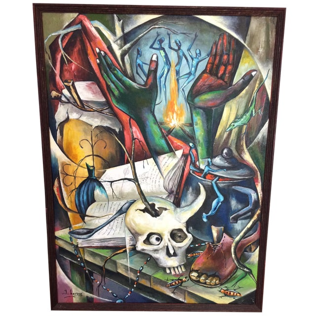 Haitian Voodoo Oil Painting, 1972 - Image 1 of 8