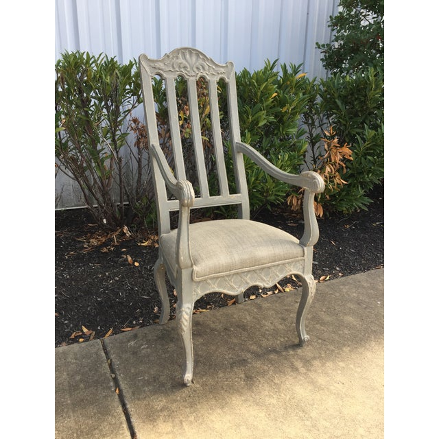 Beautiful Louis Philippe arm chair from France, c. 1900. Has been finished in a gray wash and newly upholstered. Nice...