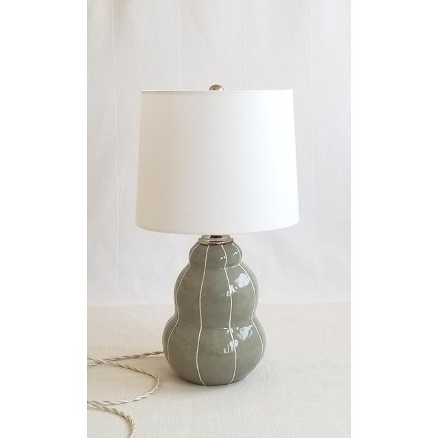 Gray Table Lamp With Pinstripes For Sale - Image 4 of 8