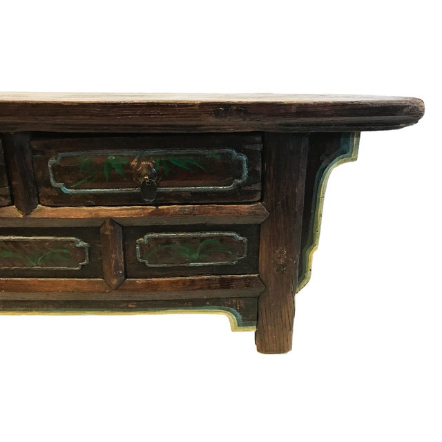 Wood Tibetan Brown Drawers Low Altar Table Chest For Sale - Image 7 of 8