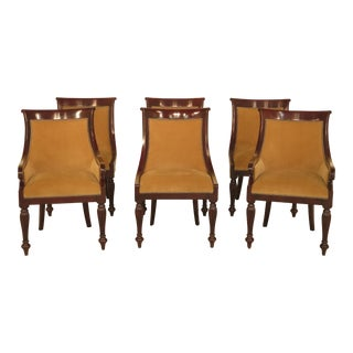 Theodore Alexander Regency Style Upholstered Dining Chairs - Set of 6 For Sale