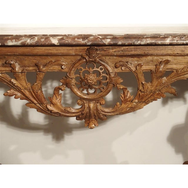 Early 18th Century Oak Regence Console With Rouge Marble Top For Sale - Image 10 of 13