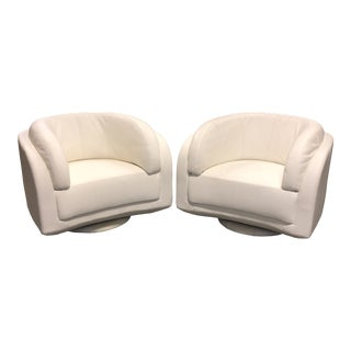 W.Schillig Arabesque White Leather Swivel Chairs - a Pair For Sale
