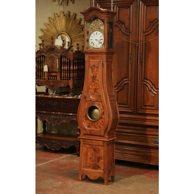 Late 18th Century Late 18th Century French Louis XV Carved Burl Walnut Tall Case Clock From Lyon For Sale - Image 5 of 13