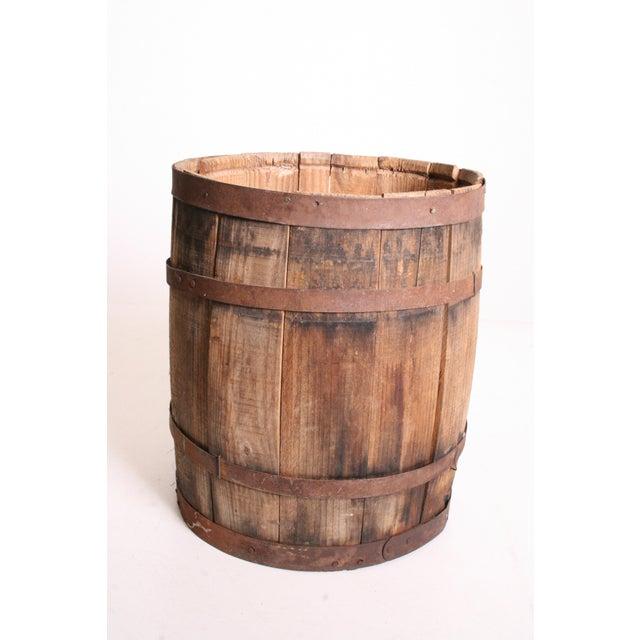 Vintage Rustic Banded Weathered Wood Nail Keg - Image 6 of 11