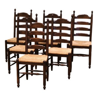 Vintage French Carved Oak Ladder Back Chairs With Rush Woven Seat, Set of Six For Sale