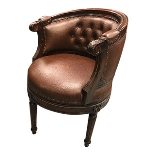 Leather Tufted Swivel Chair For Sale