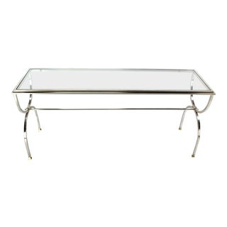 Vintage Mid Century Chrome Brass & Glass Top Console Table For Sale