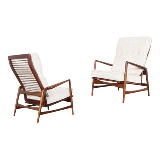 Danish Modern Walnut Reclining Lounge Chairs by Ib Kofod Larsen - a Pair For Sale