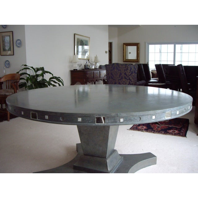 """Inspired by a photo found in the magazine, Architectural Digest, I modeled this table after a 1940""""s silver leaf and..."""