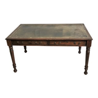 20th Century Neo Georgian Mahogany Stained Wood & Tooled Leather Writing Table