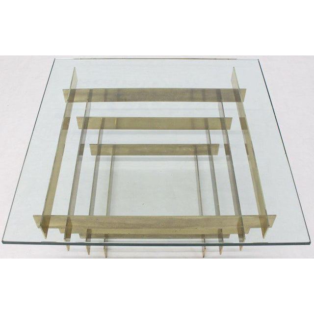 Brass 1970s Mid-Century Modern Bronze Base Glass Top Square Coffee Table For Sale - Image 7 of 12