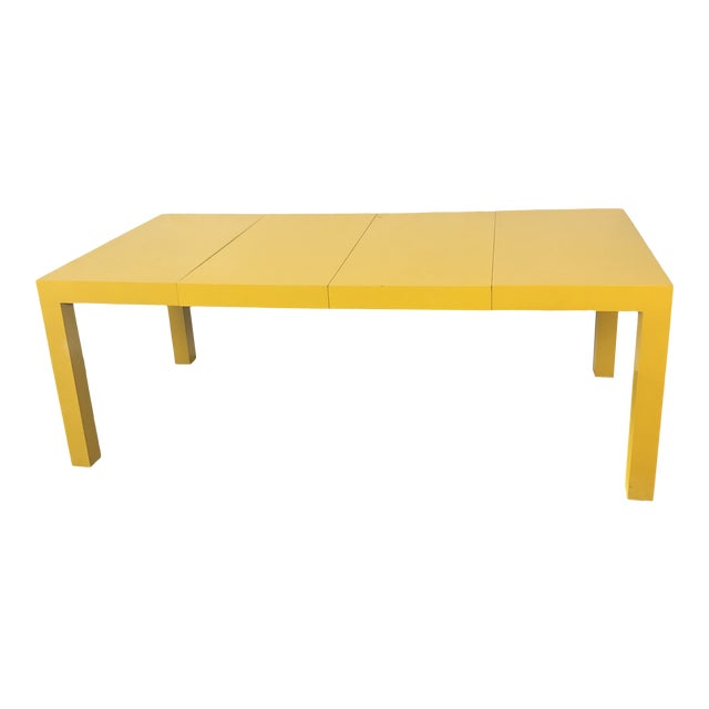 1960s Milo Baughman Thayer Coggin Parsons Yellow Dining Table For Sale