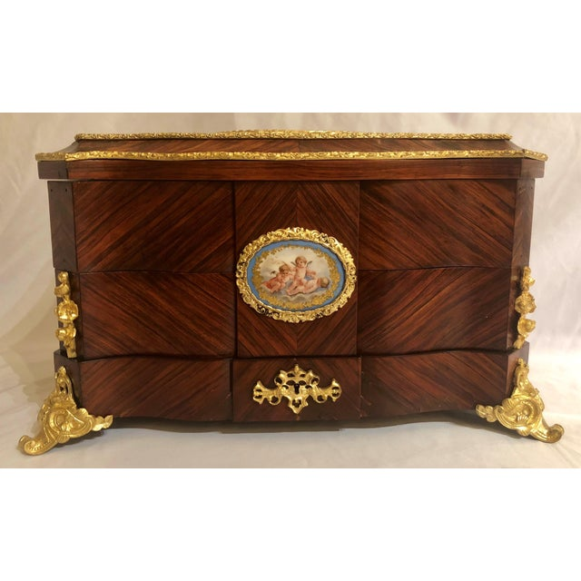 White Museum Quality Antique French Napoleon III Sevres Mounted Kingswood and Ormolu Traveling Box Made by Ebeniste, Alphonse Giroux. For Sale - Image 8 of 8