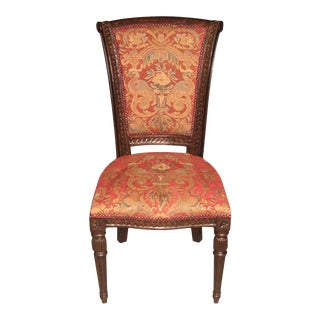 Scroll Carving Wood Captains Side Dining Chair For Sale