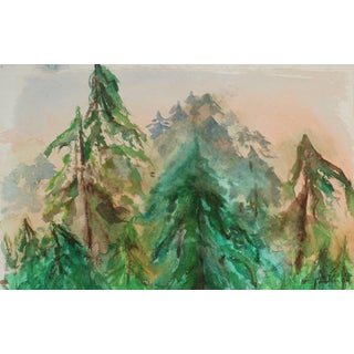 Laura Lengyel Mendocino Trees in Landscape, Watercolor Painting, 1970 1970 For Sale